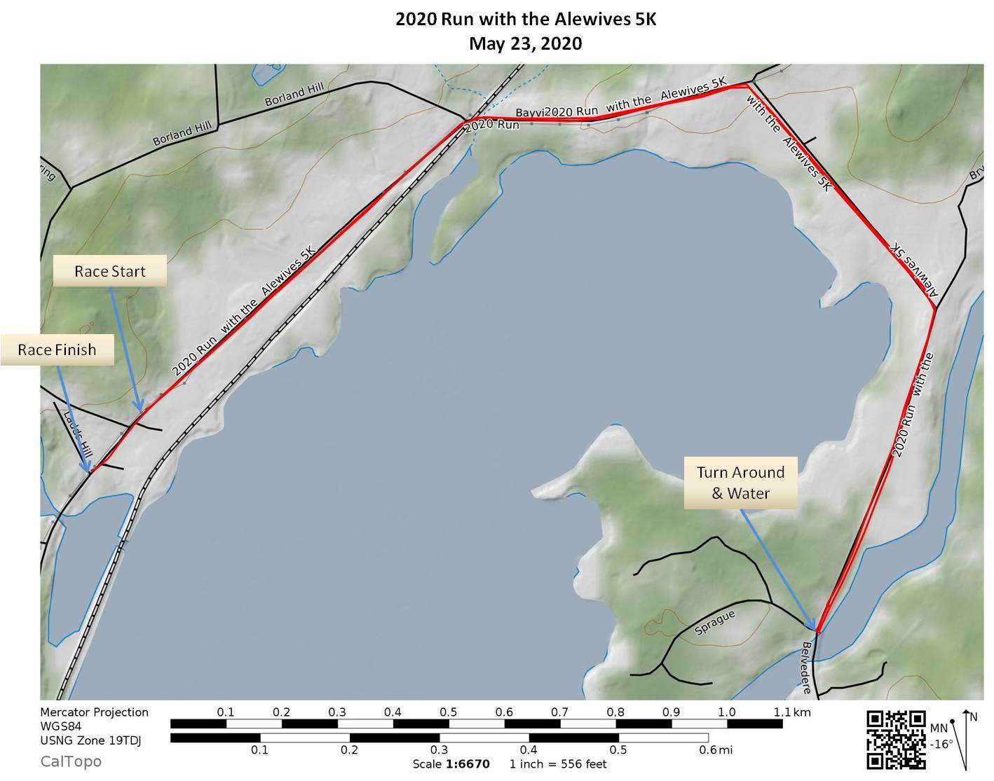 Alewives 5K 2020 Course Route